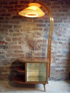 1950s LAMP & COCKTAIL GLASS CABINET IN ONE!  *A STUNNER* EXCEPTIONALLY RARE