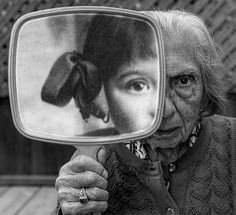 """Tony Luciani Creates Rehabilitative Portraits of His Elderly Mother Tony Luciani's """"Internal Reflection."""" Dementia tears you in half. Both are her and of her, many years apart, but together in her mind. Reflection Art, Reflection Photography, Artistic Photography, Creative Photography, Portrait Photography, Time Photography, Photography Projects, Social Photography, Memories Photography"""