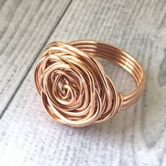 Rose Gold Wire Rose Ring #rosewirerings #wirejewelry