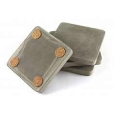 Recycled Concrete Grey Coasters http://thespotteddoor.com/c/kitchen/recycled-concrete-gray-or-white-coasters-set-of-4.html