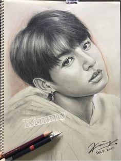 Jungkook Amazing Drawings, Cool Art Drawings, Art Sketches, Videos Princesas Disney, Chinese Drawings, Kpop Fanart, Jungkook Fanart, Kpop Drawings, Face Sketch
