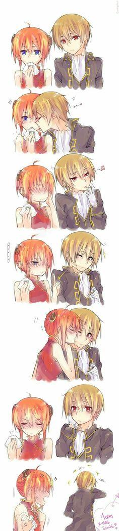 Sougo Okita x Kagura [OkiKagu], Gintama Anime Couples Manga, Cute Anime Couples, Romantic Manga, Anime Kiss, Cute Love, Kawaii Anime, Anime Characters, Chibi, Okikagu Doujinshi