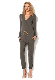 Army Green Hooded Jumpsuit - Organic By Bedroom