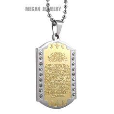 316 L stainless steel Muslim Allah Ayatul Kursi Quran pendant & necklace for men women  islam crystal Gift & Jewelry