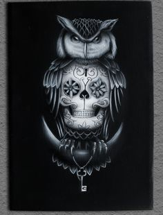 Owl airbrush painting on canvas