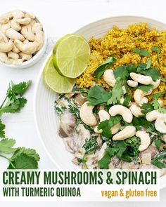 Creamy Mushrooms Spinach with Turmeric Quinoa. A nutritious and quick vegan and gluten-free recipe from The Flexitarian. Delicious Vegan Recipes, Vegetarian Recipes, Healthy Recipes, Healthy Meals, Healthy Food, Vegetarian Options, Healthy Cooking, Clean Eating, Healthy Eating