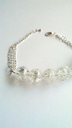 Clear Crackle Glass Bracelet