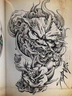 Koi Tattoo Sleeve, Dragon Sleeve Tattoos, Foo Dog Tattoo Design, Tattoo Designs, Tattoo Oriental, Fu Dog, Japanese Tattoo Art, Irezumi, Japan Art