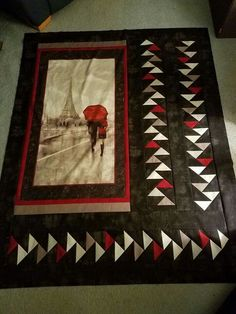 Isn't this a dramatic way of featuring a panel print? Fabric Panel Quilts, Lap Quilts, Small Quilts, Mini Quilts, Fabric Panels, Quilting Projects, Quilting Designs, Paris Quilt, Quilt Boarders