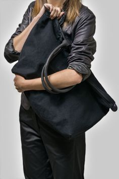 Black shopper in cotton canvas with lamb skin leather straps — a real life  saver!    100% cotton canvas and 100% lambskin leather