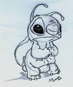 Disney Sketch - Stitch aww so sad! @Teagan Clegg