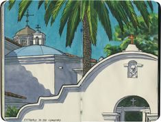 """My favorite detail of Mission San Luis Rey de Francia is not even real: the skull and crossbones over the cemetery gate was put there by the Walt DIsney studios in for the """"Zorro"""" television series. Sketchbook Drawings, Sketchbook Pages, Art Sketches, Moleskine, Urban Sketchers, Architecture Drawings, Travel Journals, Art Journals, Map Art"""