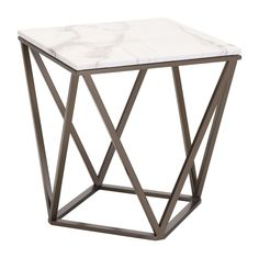 Tintern End Table in Faux Marble on Geometric Antique Brass Base