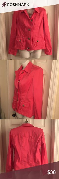 "JONES NEW YORK SIGNATURE 💕💕 Stretch Light Jacket Adorable Dark Pink Cotton/Lycra stretch jacket by Jones New York Signature. Shiny silver buttons. Size SMALL. Measures 17.5"" pit-to-pit, 34"" waist, 22"" long from shoulder to hem. Two front pockets and light shoulder pads. Excellent, like new condition. Jones New York Jackets & Coats Jean Jackets"
