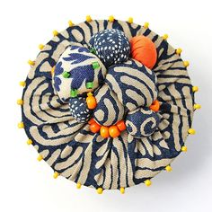 Fabric and bead brooch by I Want My Hobo Back on Etsy