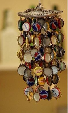 aeolian bells made by bottle caps  cool~