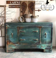Bohemian Rustic Style Waterfall Buffet/Server/Credenza/Hutch/Coffee Bar/S… Chalk Paint Furniture, Funky Furniture, Distressed Furniture, Repurposed Furniture, Furniture Projects, Rustic Furniture, Furniture Makeover, Vintage Furniture, Cheap Furniture
