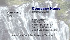 A photo-background business card with a cascading waterfall. Free to download and print