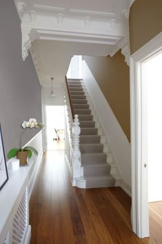 May 7 first impressions count creating a hallway with impact house carpet stairs victorian white staircase Style At Home, White Staircase, Staircase Landing, Foyer Staircase, Staircase Runner, White Banister, Spiral Staircases, Hallway Inspiration, Hallway Ideas