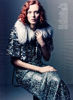 Karen Elson wearing Marc Jacobs FW13, photographed by Craig McDean for Vogue July 2013