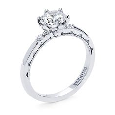 Tacori Sculpted Crescent Platinum Prong Engagement Ring