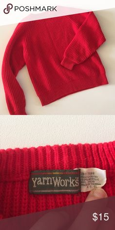 Yarn Works Sweater Beautiful red cable knit sweater. Scoop neck. Looser fitting sleeves. Super warm material. Made with 100% acrylic. No flaws. Yarn Works Sweaters