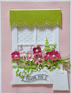 Making Cards using the Grand Madison Window by Poppy Stamps. Trio in pink.