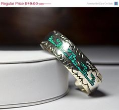 ON SALE Vintage Native American Sterling Silver & Turquoise Chip Inlay Cuff Bracelet, Geometric, Mosaic, Engraved, Stunning Statement! #A905 by HauteVintageJewels on Etsy https://www.etsy.com/listing/235042958/on-sale-vintage-native-american-sterling