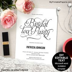 Tea party bridal shower invitation, Bridal tea party invitations, Bridal tea invitations, printable, DIY, template, vintage Bridal Tea Invitations, Tea Party Bridal Shower, Rsvp, Printable, Templates, Bride, Unique Jewelry, Handmade Gifts, Prints