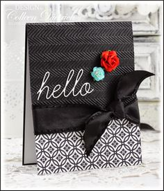 Dietrich Designs - Hello in Black & White.  Elegant all-occasion card using Market Street Stamps' Punched Tin Background stamp, and Memory Box 'hello' die.  Cuttlebug Herringbone embossing folder tops it off.