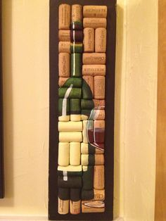 Hand Painted Wine Bottle and Glass On Cork . I have so many corks.