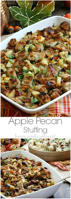 This Apple Pecan Stuffing recipe is a delicious blend of buttery bread cubes, apples, and pecans. Make this Thanksgiving stuffing recipe for your family and friends for Thanksgiving dinner. You can stuff the turkey with it or make it in a separate casserole dish. It's one of the best Thanksgiving stuffing recipes I've ever tasted!