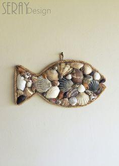 Seashells Decor/ Nautical Wall Decor/ Coastal Decor/ Ocean Decor/ Beach Gifts/ Beach Decor/ Natural Home - dremel - Nautical Wall Decor/ Sea Shells Decor/ Fish Wall by SerayDesign - Fish Wall Decor, Nautical Wall Decor, Coastal Decor, Seaside Decor, Coastal Style, Rustic Decor, Seashell Art, Seashell Crafts, Seashell Projects