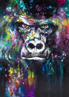 X Series Artist Hand-painted High Quality Modern Abstract KingKong Oil Painting On Canvas Colorful Orangutan Canvas Painting Graffiti Art, Oil Painting On Canvas, Canvas Wall Art, Pop Art, Monkey Art, Kunst Poster, Thai Art, King Kong, Wildlife Art