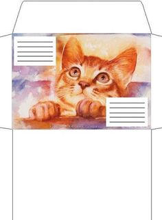 printable envelope for kitty cat party Envelope Template Printable, Free Printable Stationery, Printable Recipe Cards, Templates Printable Free, Printables, Origami Envelope, Diy Envelope, Paper Toys, Paper Crafts