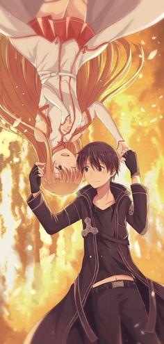 The beginning of one love story 🥰 🖤💍❤️ Otaku, Sword Art Online Wallpaper, Sword Art Online Asuna, Kirito Asuna, Cutest Thing Ever, Illustrations And Posters, Anime Couples, Online Art, Manga Anime