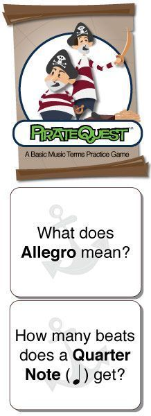 Pirate Quest | Music Terms Board Game - Digital Print Game Board, Playing Cards and Instructions - Click to Learn More.