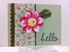 Deb's lovely card: Beautiful Bunch & its punch, Hi There, All Abloom dsp stack, & more. All supplies from Stampin' Up!