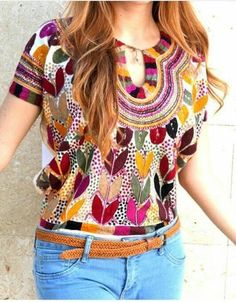 "Mexican Hand Embroidered Top ""Milpa"" 100% Cotton Manta"