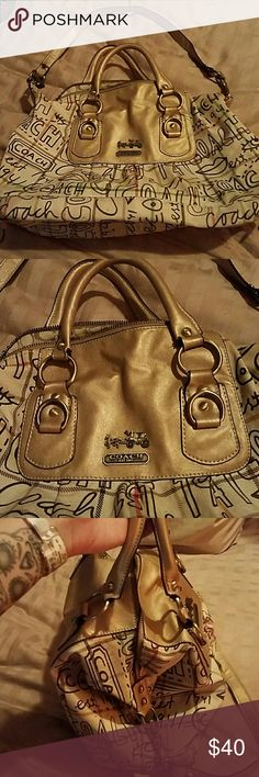 Coach purse Used so cute Coach sabrina op bag <3 its tan with red and green plaid design lips and coach print regular c print interior  shoulder strap or regular handle bag Coach Bags Shoulder Bags