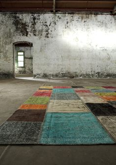 Harvest- Appearing stitched together, as if its a vintage patchwork piece, there is very little that is old fashioned about this vibrant rug.  Its boldness is made apparent with exciting contemporary colours and patterns that will leave a lasting impression and give energy to the quietest rooms.