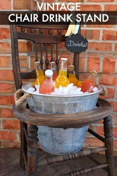 Repurpose an old vintage chair into a unique drink stand. It's a custom, functional touch that's sure to be the center of your guests' conversations.