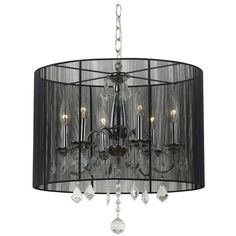 Crystal Chandelier Pendant Light with Black Drum Shade ($120) ❤ liked on Polyvore featuring home, lighting, ceiling lights, crystal pendant light, black drum shade chandelier, crystal pendant lighting, black crystal chandelier lighting and black crystal chandelier