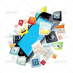 Mobile Smart Phone with Software Apps Icons Around. Vector Concept  - vector illustration with simple gradients  - vector graphics