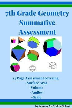 This is a Summative Assessment of the Geometry Standards taught in 7th Grade.  It is aligned to the Common Core Math Standards.  7th Grade Geometry Summative Assessments: This product includes the following:Review of Standards Packet Post Assessment APost Assessment BPost Assessment CFormula SheetWe included different versions of the assessment to allow for teachers to input their own values and differentiate with their students…