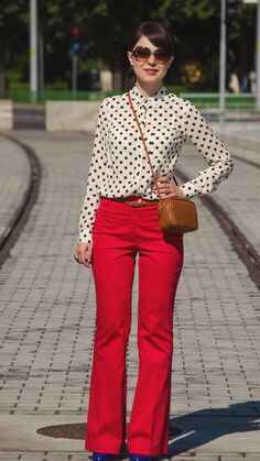 Red and dotty on a cool summer day! Click for outfit details. #stylegallery