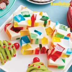 Jewel Box Jigglers: As bright and sparkly as Christmas itself, make-ahead gelatin-and-condensed-milk squares will inspire oohs, aahs, and yums.