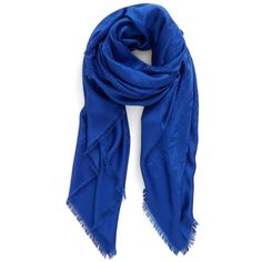 Women's Marc Jacobs Monogram Silk & Wool Jacquard Scarf ($295) ❤ liked on Polyvore featuring accessories, scarves, sodalite blue, ruffle scarves, silk shawl, wool scarves, woolen scarves and blue shawl