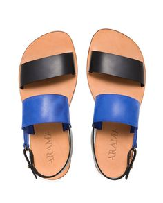 Valentine up to 20% off Blaze Men Leather Strap Sandal in Royal Blue and Black with Back Strap Closure on Etsy, $160.00