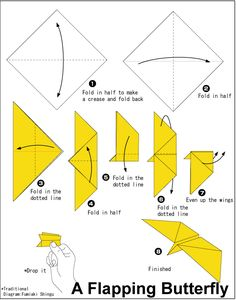 Papillon battant origami très facile – Origami Community : Explore the best and the most trending origami Ideas and easy origami Tutorial Origami Bat, Origami Paper Plane, Origami Butterfly Easy, Origami Simple, Kids Origami, Paper Crafts Origami, Butterfly Crafts, Make A Paper Airplane, Airplane Crafts